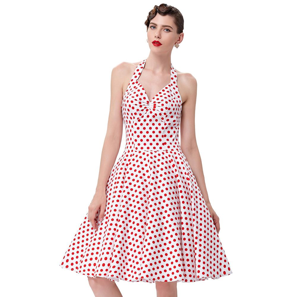 Summer Women Dress 2016 Polka Dots Print Casual Vstidos Sleeveless <font><b>Vintage</b></font> 50s 60s Dresses Swing Pinup Rockabilly Dress Cheap