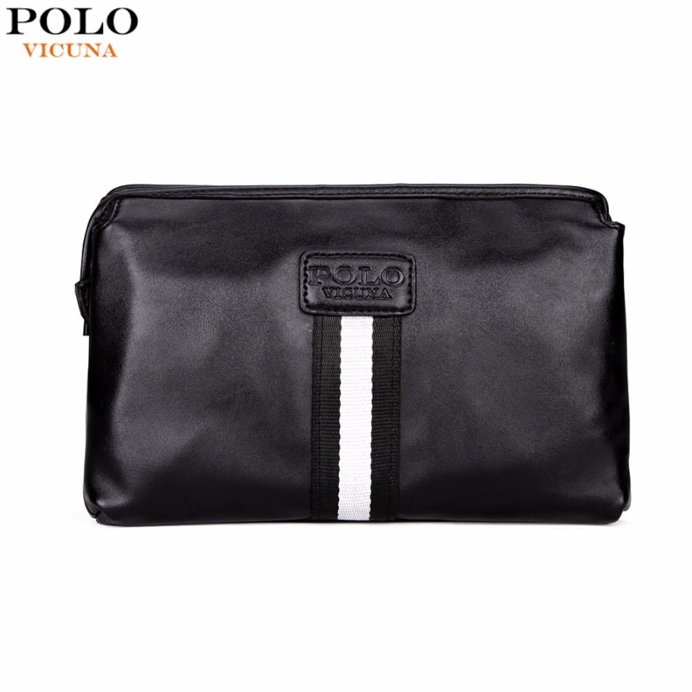 VICUNA POLO Casual British Style Multilayer Men Clutch Wallet Large Capacity Black Leather Envelope Clutch Bag Mens Handbag