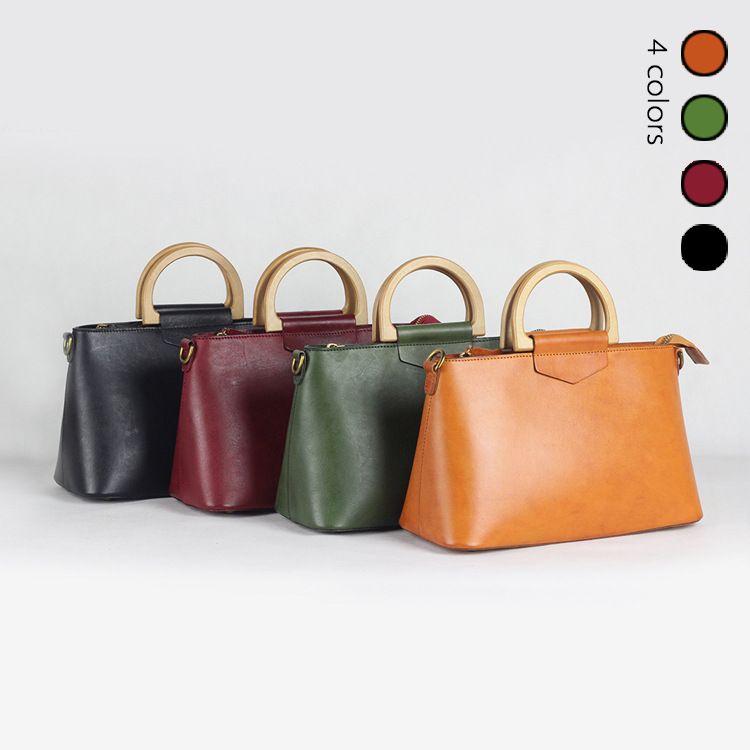 2018 Women Korea Retro Wooden <font><b>Handle</b></font> Handbag Flip Casual Shoulder Bag Diagonal Solid Color Vintage Bag With Gift Clutch