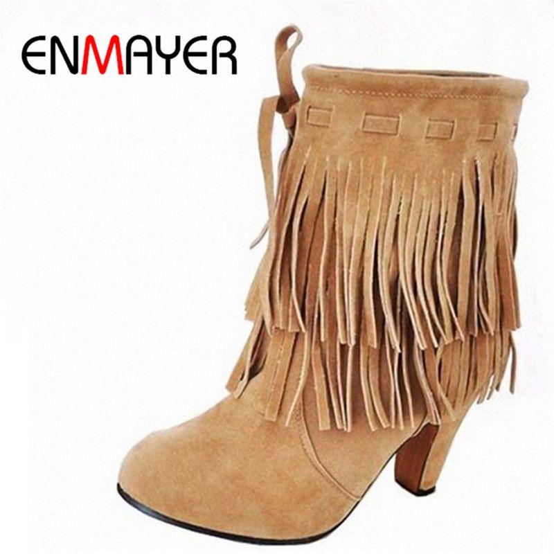 ENMAYER полусапоги большие размеры США 4–14 бесплатная доставка зимняя обувь новые поступления обувь на высоком каблуке с острым носком замшев...