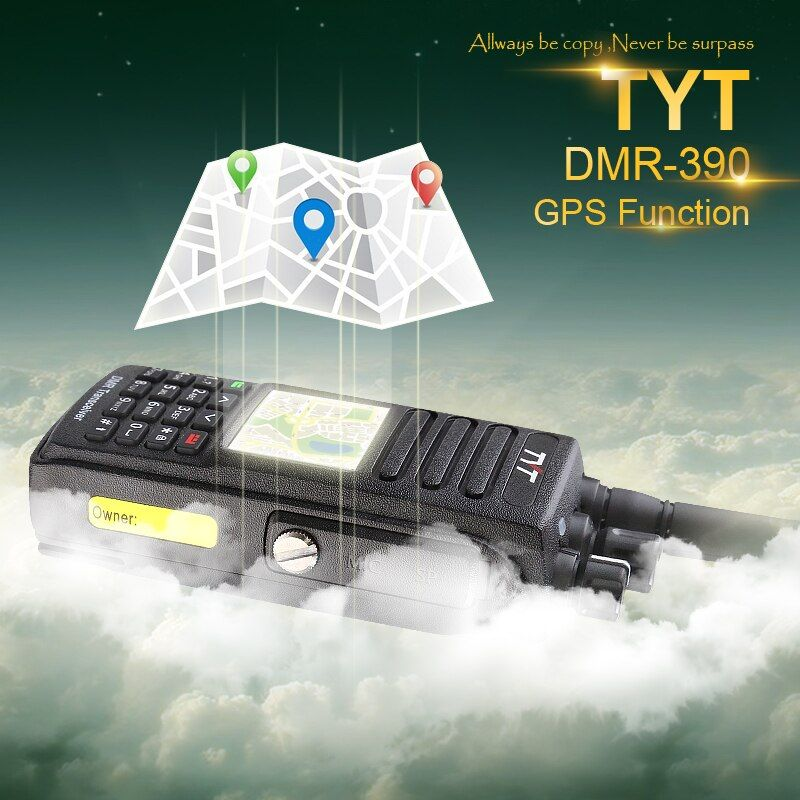 100% Brand New Factory Authorized IP-67 Waterproof TYT VHF DMR Walkie Talkie MD-390 with GPS and Programming Cable