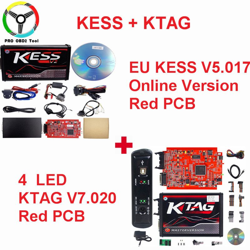 Master Online EU Red Kess V2 V2.23 V2.47 ECU Chip Tuning 2018 Kess Ktag Kess V5.017 No Token Limited Ktag V7.020 ECU Programmer