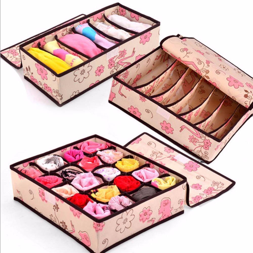 3 в 1 компл. grid Pattern Складной ящик для хранения Нижнее Бельё для девочек бюстгальтер галстук носок Трусики для женщин Организатор Box домашний ...