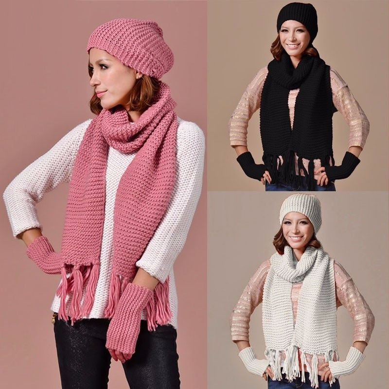 Womens pink Knitted Ski Beanie Cap Warm Hats Scarf and Gloves Winter Set