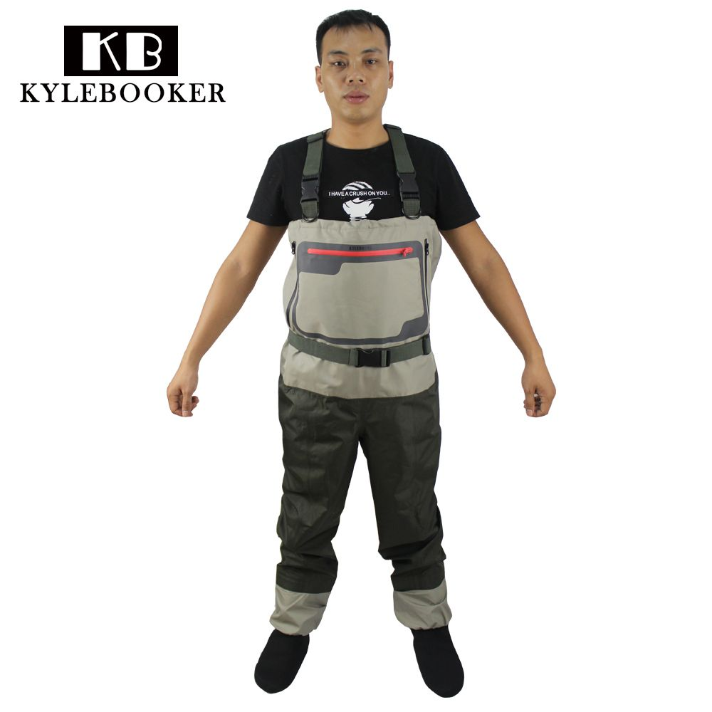 Fly Fishing Chest Waders Breathable Waterproof trousers Fishing Wader Overalls Hunting pants with Stocking Foot
