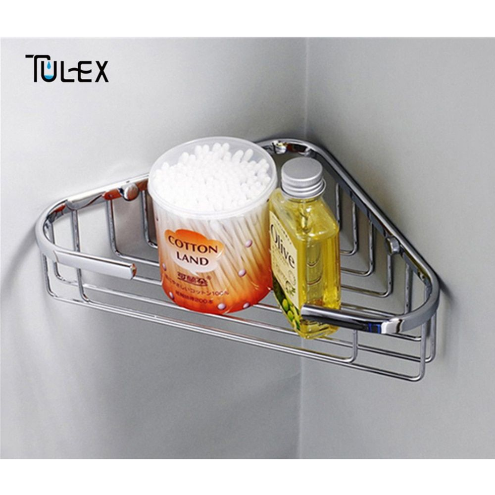 TULEX étagères salle de bain panier de douche mural support d'angle panier de rangement acier inoxydable miroir poli