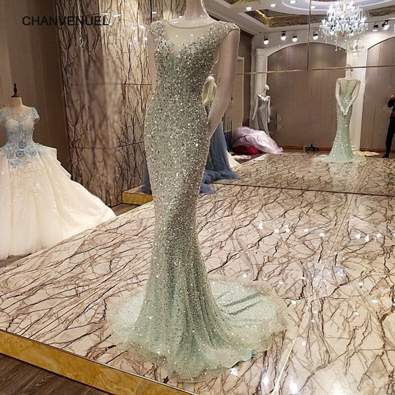 LS7327 Abendkleid 2017 New Fashion Real Sample Mermaid Sexy See Through Back Long Evening Dress Rhinestone Prom Dresses