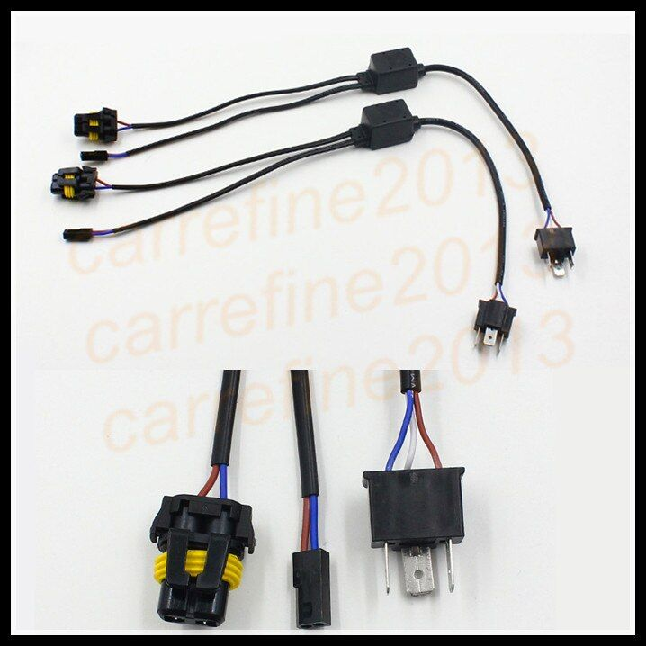 Rockeybright 2X Universal HID kit H4 Hi-Lo Relay Wiring Harness HID Xenon Ballast Cable Wire Connector for Auto Motor Headlight