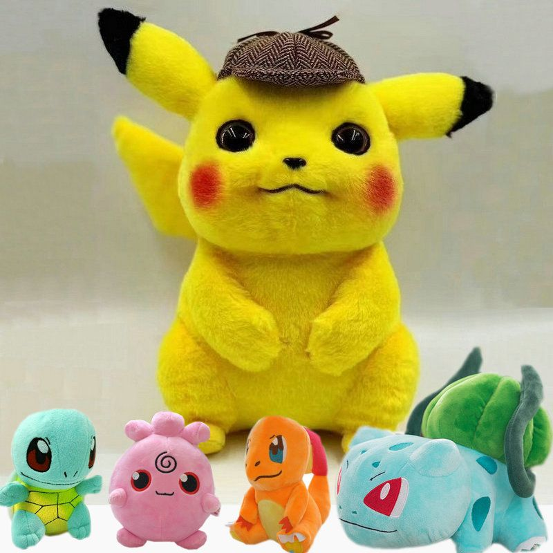 Pikachu Dective Plush Toy Jigglypuff Poliwhirl Charmander Gengar toys Movie anime Doll For Kid baby birthday gifts Anime Soft