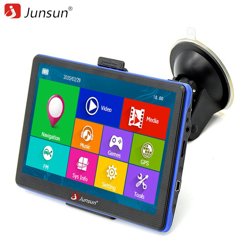 Junsun 7 inch HD Car GPS Navigation navigators FM MP3/MP4 Players Russia/Europe Map Free Upgrade Truck gps Sat nav automobile
