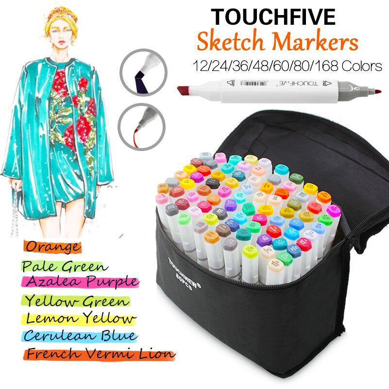 TouchFive 12/24/36/48/60/80/168 Colors Art Markers Pen Alcohol Based Marker Dual Headed Tips for Manga Drawing Marker Pen