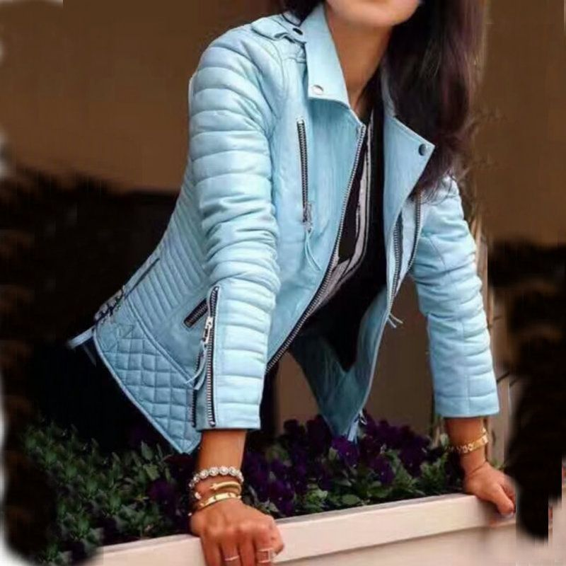 2018 New Fashion Women Spring Autumn Soft Faux Leather Jackets Lady Motorcyle Zippers Biker Blue Coats Black Outerwear Hot Sale