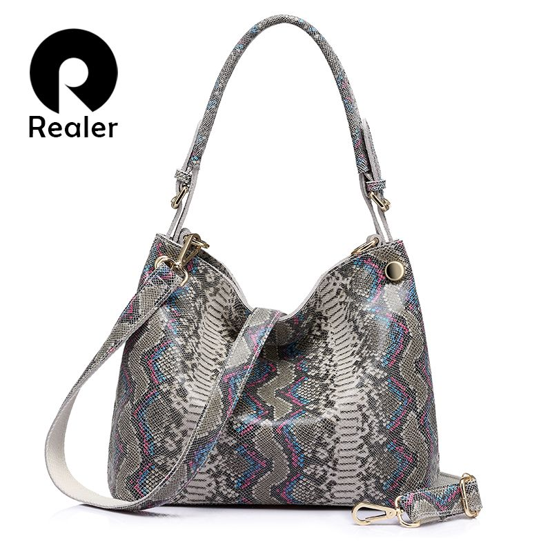 REALER brand <font><b>genuine</b></font> leather handbags women serpentine prints large shoulder bag classic top-handle bag female crossbody bags