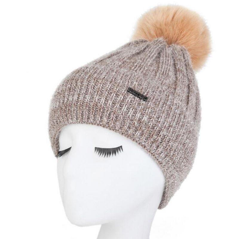 2017 high quality girl Pom Pom Beanie Warm Knitted Bobble women Fur Pompom Hat Children Real Raccoon Fur Pompon Winter Hat Cap