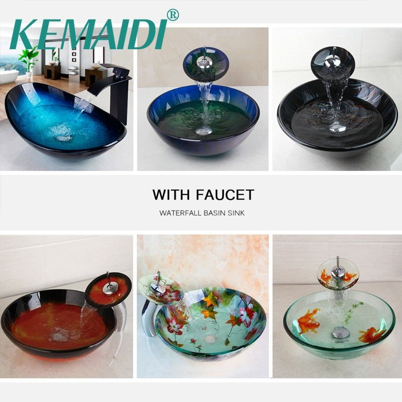 KEMAIDI Luxury Washbasin Tap Tempered Glass Sink Hand Painted Glass Wash Sink With Faucet Set Mixers & Bathroom Vessel Sink