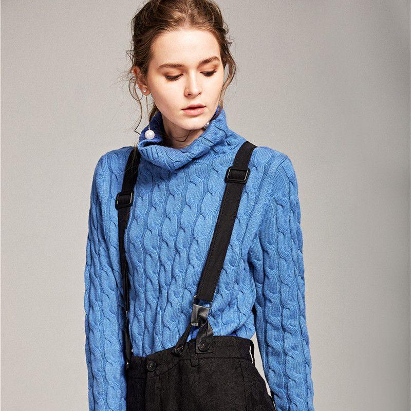 Hochgeschlossenen twist pullover frauen herbst und winter lose Koreanische version der kaschmir pullover hemd sets