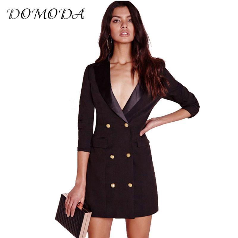 DOMODA Apparel Black Sexy Brief Women Blazer Dress Autumn Double Breasted Chic Female Dress Office Casual Slim Basic Vestidos