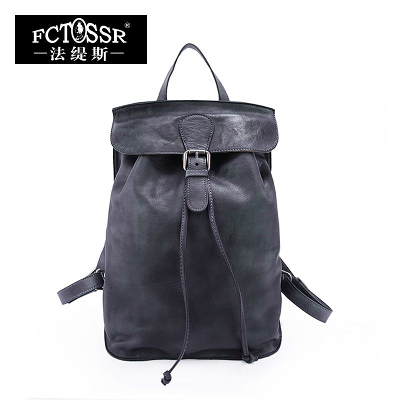 Autumn 2018 Original Genuine Leather Women Backpack Vintage Leisure Top Handle Women Bags Cow Leather Backpack