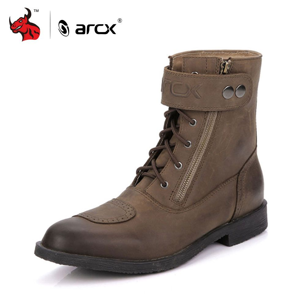 ARCX Cow Leather Motorcycle Riding Ankle Boots Street Moto Racing Motorbike Chopper Cruiser Touring Biker Vintage Leisure Shoes