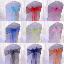 Grosir 100 pcs/lot DIY Pernikahan Organza Penutup Selempang Pita Kursi Dekorasi Pesta Ulang Tahun Pernikahan Ikatan Simpul 17 Warna