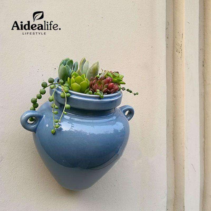 Céramique mur planteurs planteurs pour succulentes bleu usine de céramique pots jardinage d'intérieur jardin mur décor germination plateaux
