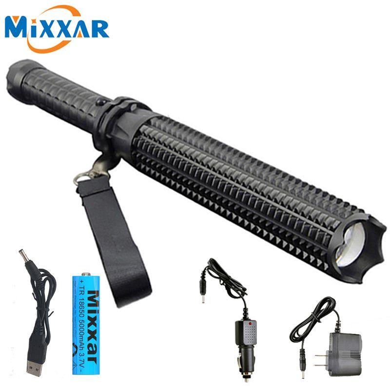 ZK20 puissant 9000LM L2 lampes de poche LED 18650 télescopique baton livraison directe auto-défense Police patrouille Rechargeable lampe torche