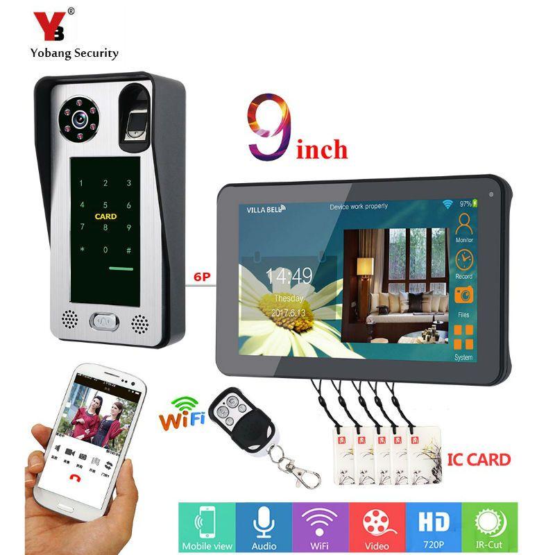 9 zoll Verdrahtete Wifi Fingerprint IC Karte Video Tür Telefon Türklingel Intercom System mit Tür Access Control System, unterstützung Fernbedienung