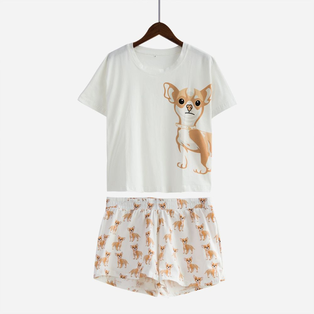 Women's Chihuahua Dog Print Sets 2 Pieces Pajama Suits Crop Top + Shorts Stretchy Loose Tops Plus Size Elastic Waist S76902J