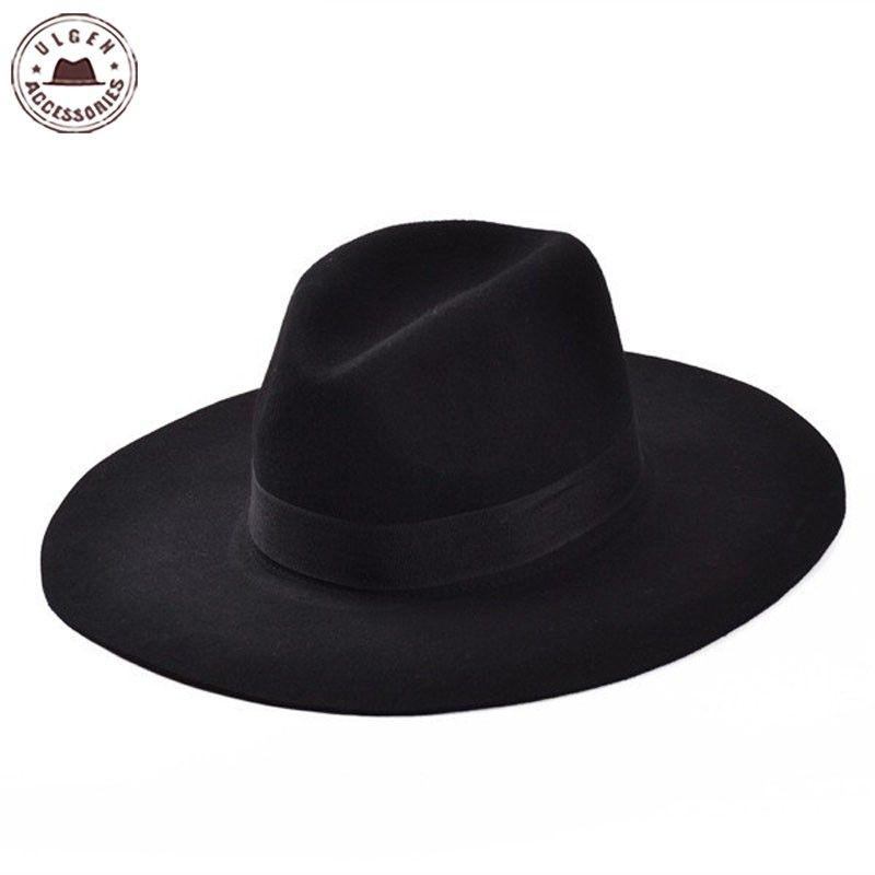 Chapeau Fedora à bords plats printemps et automne classique chapeaux d'église en laine à Large bord pour femmes hommes chapeau haut-de-forme souple