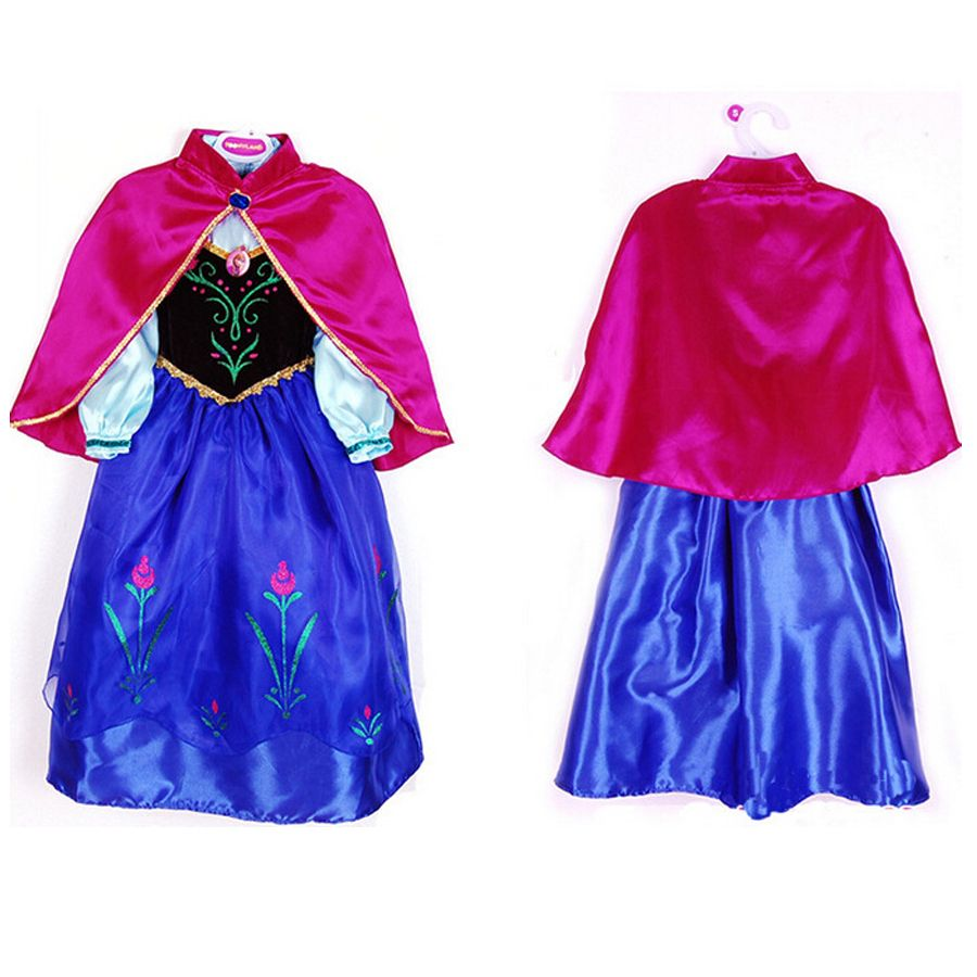 Anna Elsa Robes Pour Filles De Pâques Snow Queen D'hiver Partie D'anniversaire De Noël Enfants Robe Châle De Mariage Princesse de Soirée Costumes