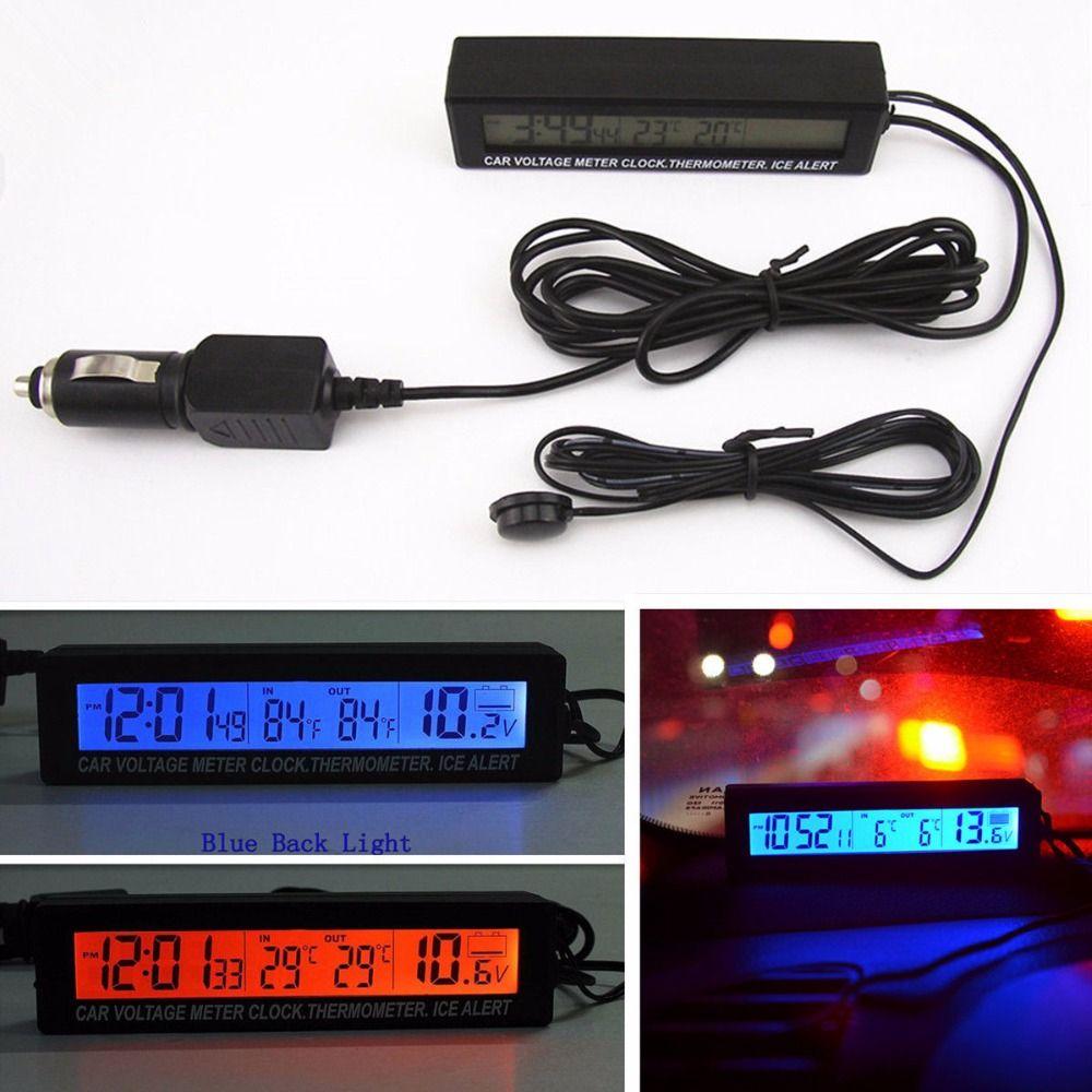 3in1 12 V numérique LCD écran voiture batterie tension compteur horloge extérieure/intérieure voiture thermomètre alerte à glace alarme carillon horaire