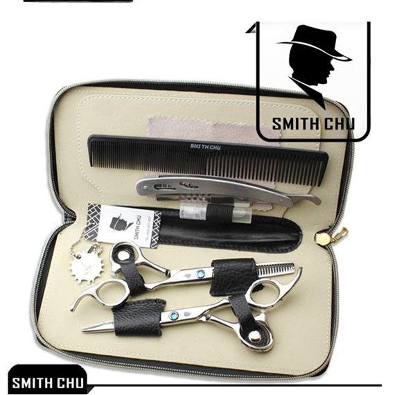 6.0 Smith Chu japon 440c ciseaux de coupe de cheveux ciseaux amincissants tondeuse de coiffure rasoirs de coiffeur avec étui à peigne LZS0006