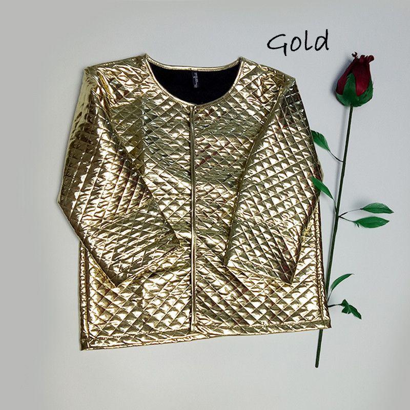 New Fashion Women J Lozenge <font><b>Gold</b></font> Sequins Short Jackets Three Quaters Sleeves Outwear Coats Female Casual Jackets Plus Size