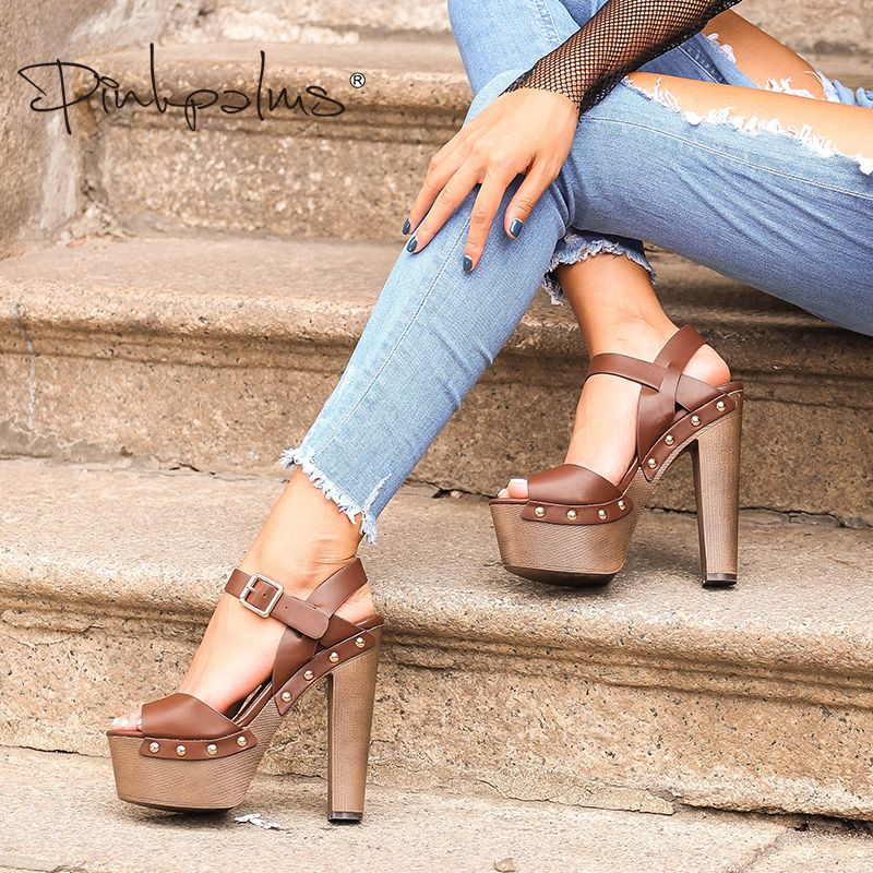 Pink Palms summer shoes sandals wedges shoes for women high heels peep toe ankle strap platform sandals with rivet zapatos mujer