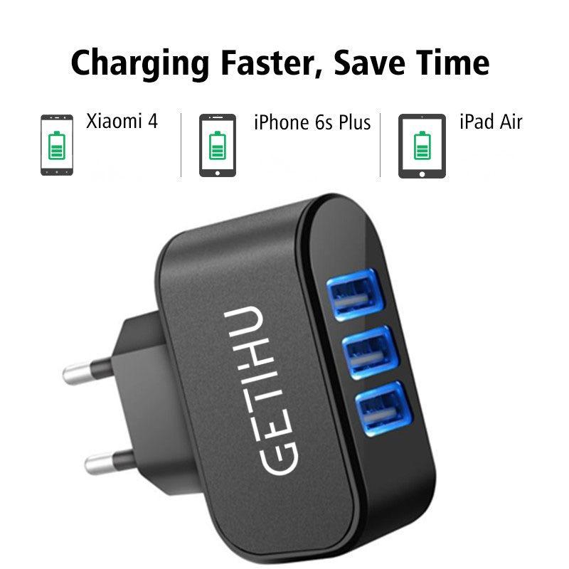 3 Порты 2A USB Plug ЕС зарядки мобильного телефона адаптер Dock стены Зарядное устройство ячейки для iPhone 7 6S 6 5S 4S Ipad Android Samsung зарядки
