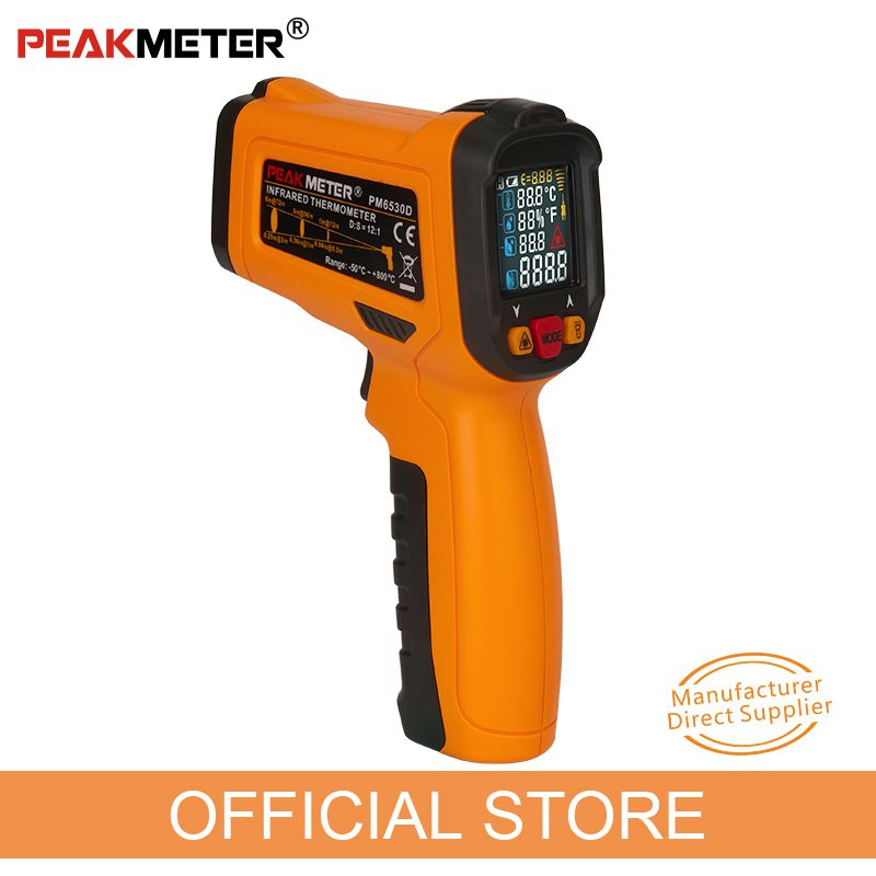 PEAKMETER PM6530D LCD Display Handheld Infrared Thermometer -50~800 with Humidity and Dew Point IRT K type Ambient UV Light