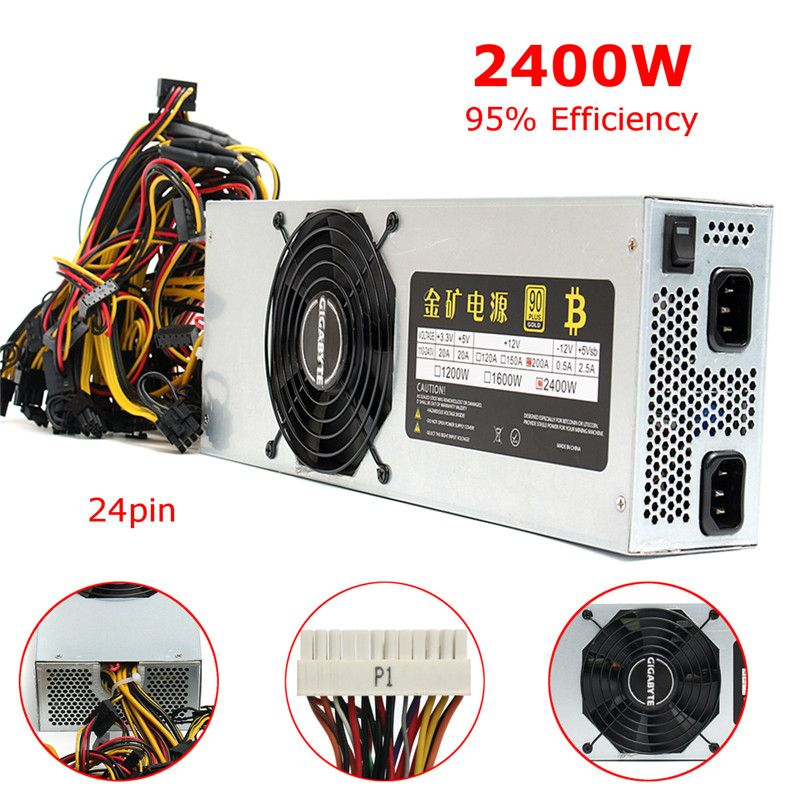 Computer Miner 2400W Power Supply Universial 95% Efficiency Bitcoin Mining Power Supply 12V 200A Output 24 Pin SATA For ETH ZEC