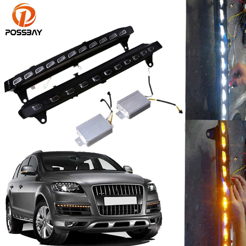 POSSBAY Car Daytime Running Lights for Audi Q7 (4L) '2005-2009 Pre-facelift White Yellow 22 LED DRL Fog Lamp Turn Signal Lights