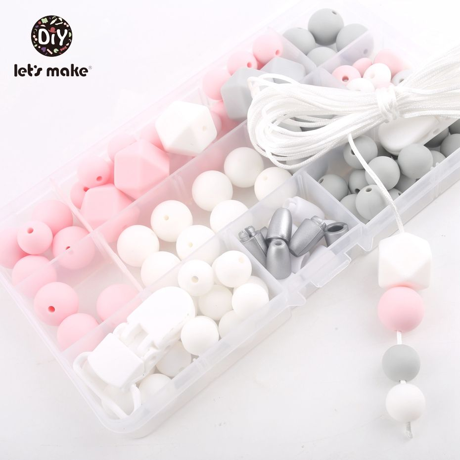 Let's Make Silicone Teether Accessories DIY Beads Set Teething Jewelry Hand Made Pacifier <font><b>Clip</b></font> Baby Teether Silicone Beads