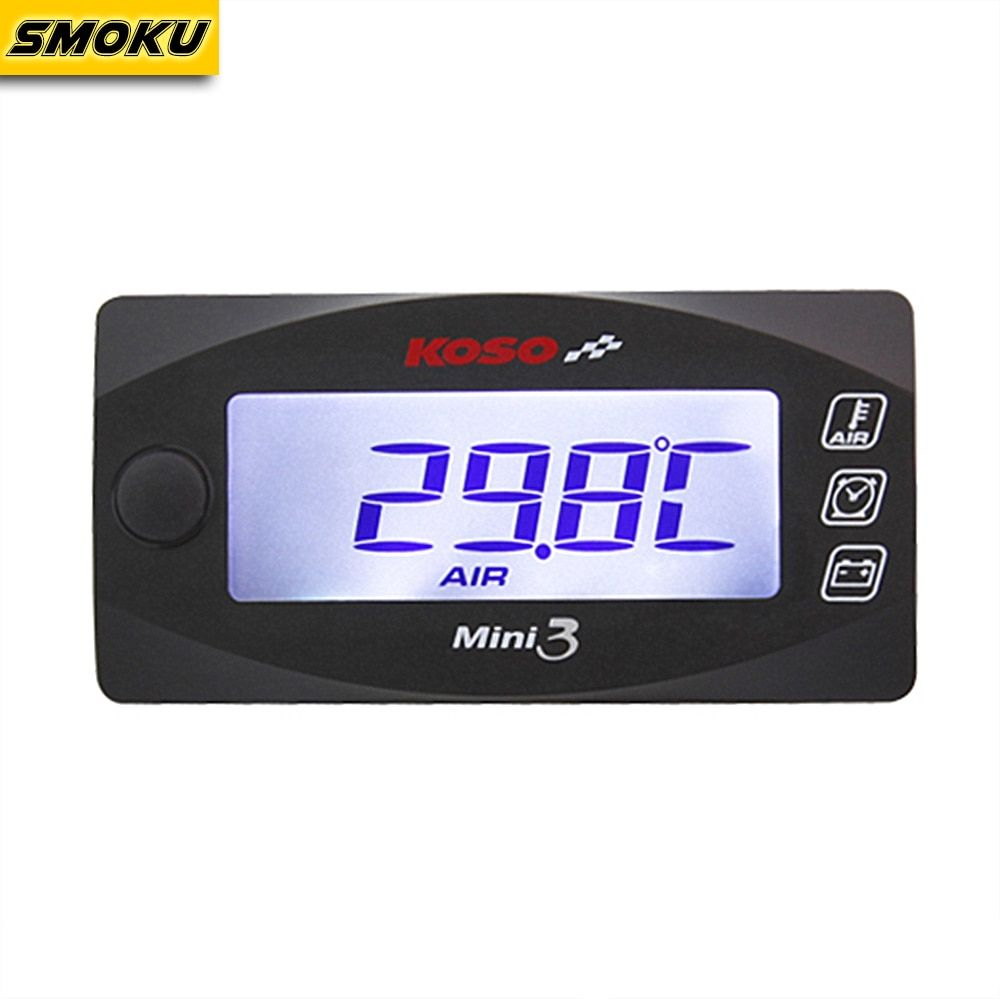KOSO Mini Style Instruction LED Display Meter KOSO MINI 3 (Air Temp+Time+Volt Meter) for Racing and Scooter Bike