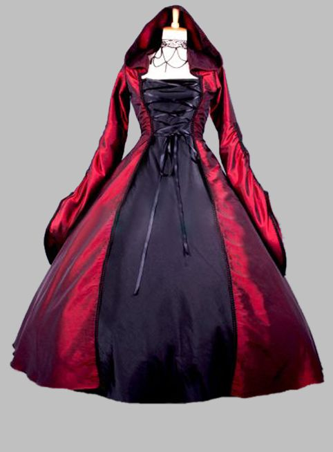 Gothic Black and Wine Red Halloween Witch Cosplay Costume Dress