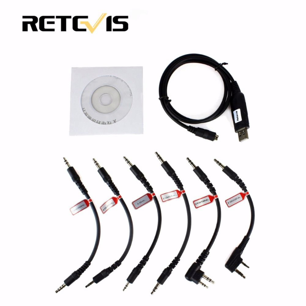 Retevis 6 in 1 USB Programming Cable For Baofeng UV5R 888S Retevis RT5R H777 For Kenwood For Motorola For Yaesu Radio C9002