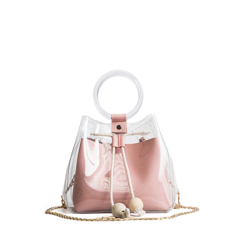 Klar Transparent Kordelzug Mädchen Nette Verbund Tasche Weibliche Handtaschen Mode Marke Mini Kleine Schulter Tasche Für Frauen