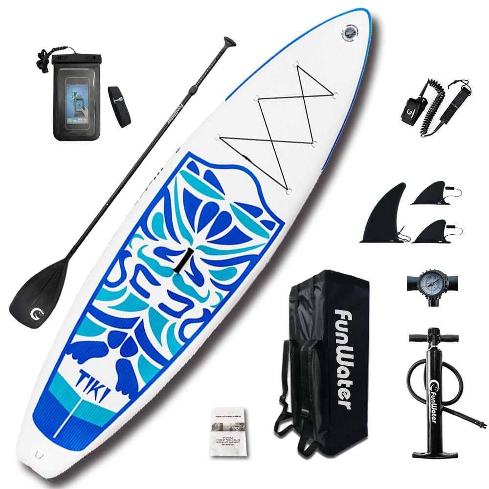 FunWater 320*84*15cm Inflatable Paddle Board Sup W/ Paddle,Bag,Leash,Pump,Phone Bag