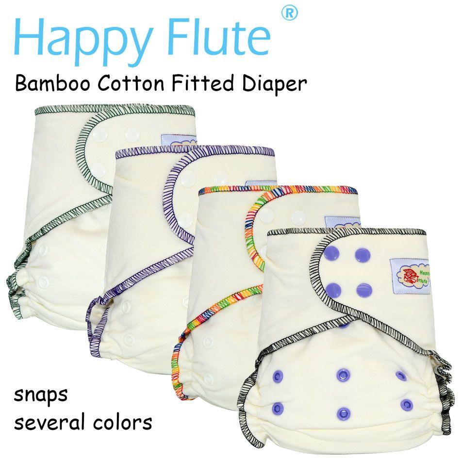 HappyFlute Onesize bambou coton équipée couches, naturel, AIO couches de chanvre, ajustement des bébés de 5-15kgs, doit porter un couvre-couche