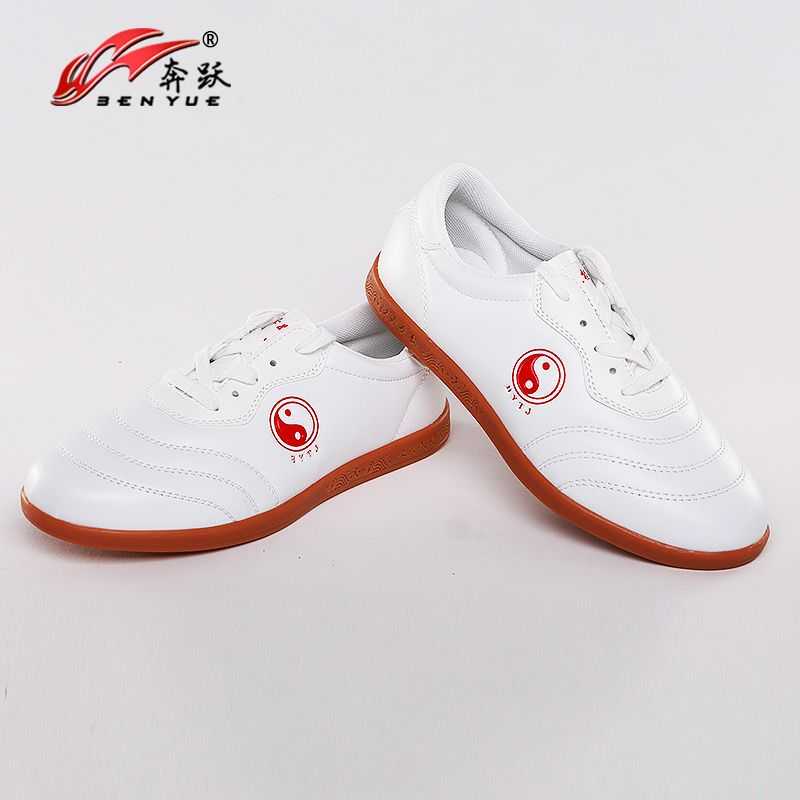 Free shipping Chinese wushu shoes tai chi shoes leather kungfu taiji Practice/Cow Muscle Soles/for men and women/Wu Embroidery