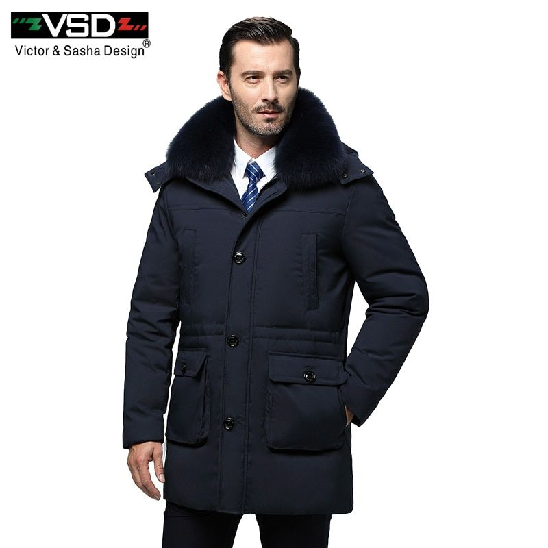VSD New Long Winter Duck Down Jacket Real Fur Collar Men's Fashion High Quality Clothing Casual Jackets Thickening Parkas VS965