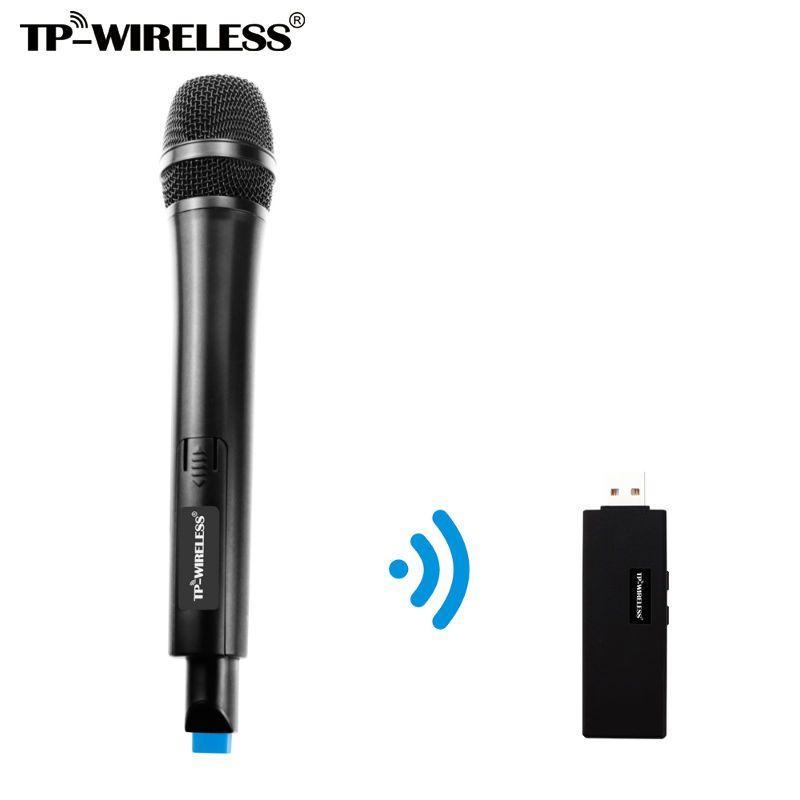 TP-WIRELESS Double Canal USB Sans Fil Microphone pour Karaoké, conférence, conférence, stade, de mariage, enregistrement, chant en ligne