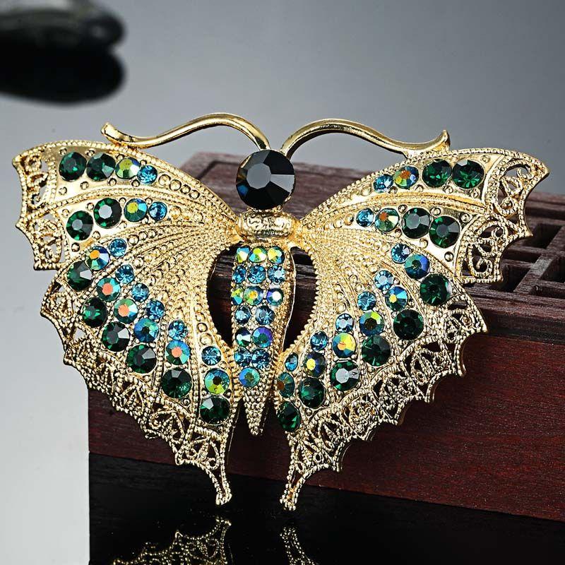 Vintage Papillon Broche Pour Les Femmes Cadeaux De Fête Colares Strass Broches Bouquet insecte Vert Hijab Accessoires Écharpe Broches