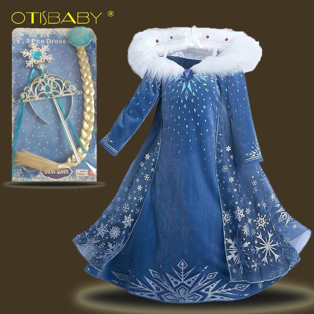 Bebé Niñas Elsa partido trajes Anna princesa vestido de la nieve niños caliente Vestidos terciopelo cottoning Vestido de manga larga